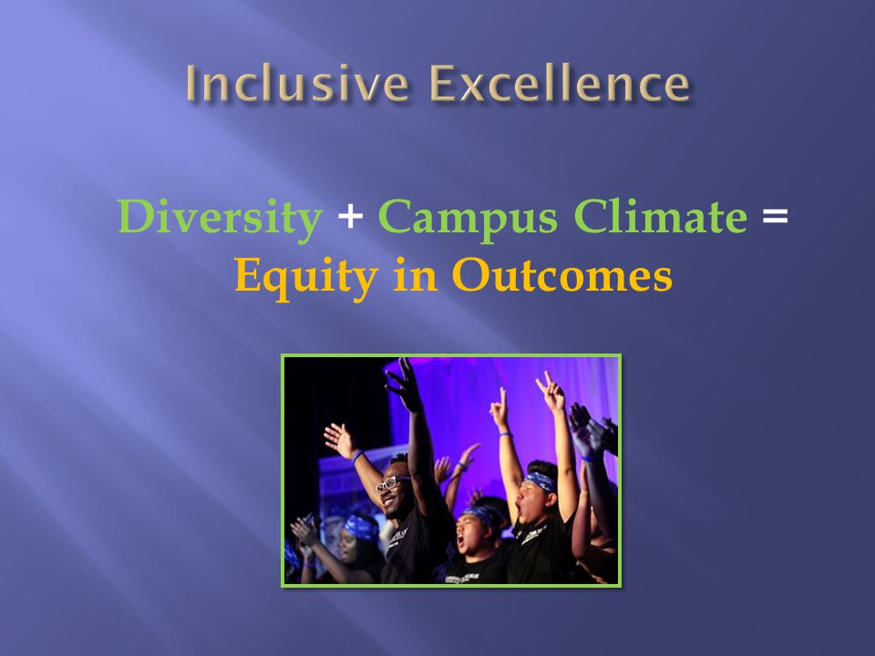 Diversity + Campus Climate = Equity in Outcomes
