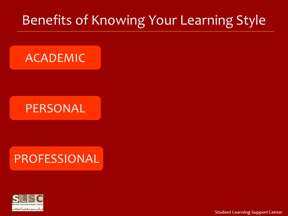 Benefits of Knowing Your Learning Style ACADEMIC PERSONAL PROFESSIONAL Student Learning Support Center