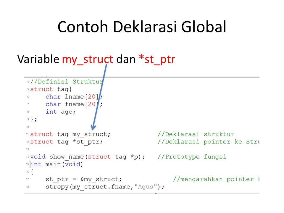 Contoh Deklarasi Global Variable my_struct dan *st_ptr