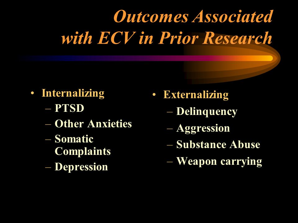 Outcomes Associated with ECV in Prior Research Internalizing –PTSD –Other Anxieties –Somatic Complaints –Depression Externalizing –Delinquency –Aggression –Substance Abuse –Weapon carrying