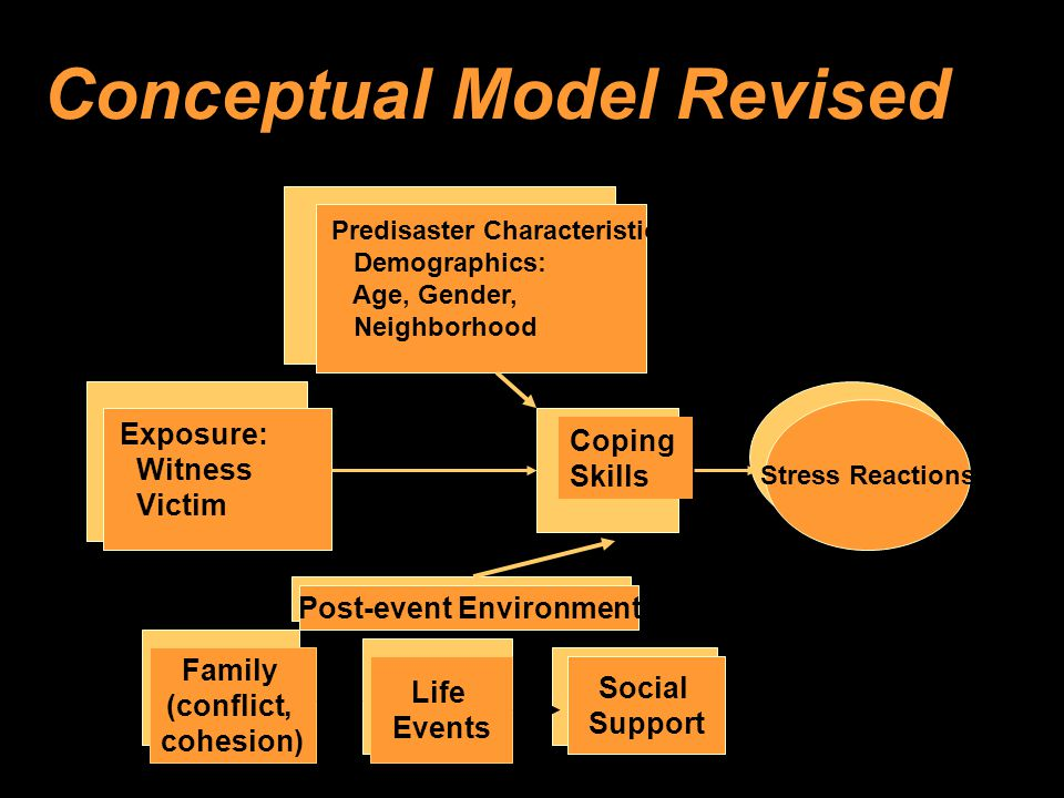 Conceptual Model Revised Life Events Social Support Post-event Environment Stress Reactions Exposure: Witness Victim Predisaster Characteristics Demographics: Age, Gender, Neighborhood Family (conflict, cohesion) Coping Skills