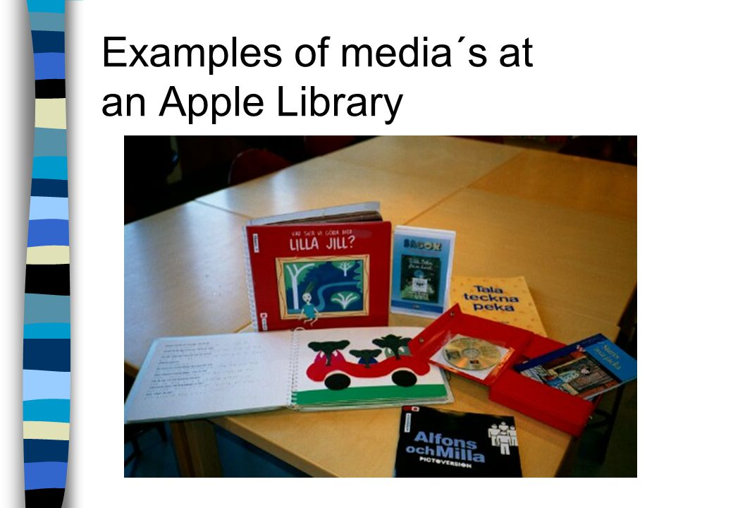 Tactile picture books n used by blind or partially sighted children n relief pictures n Braille text and printed text on the same page n trains the spatial ability such as consciousness of direction: right-left, over- under