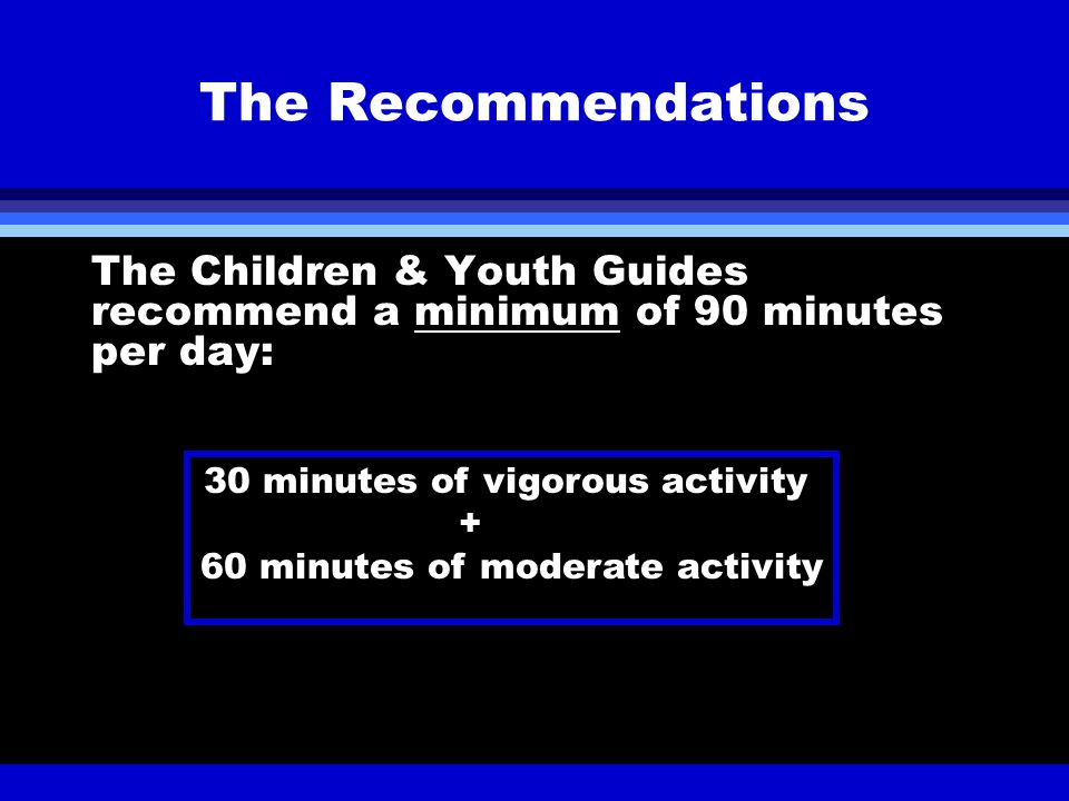 The Recommendations The Children & Youth Guides recommend a minimum of 90 minutes per day: 30 minutes of vigorous activity + 60 minutes of moderate activity