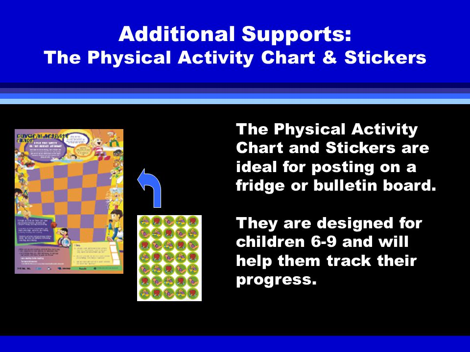 Additional Supports: The Physical Activity Chart & Stickers The Physical Activity Chart and Stickers are ideal for posting on a fridge or bulletin board.