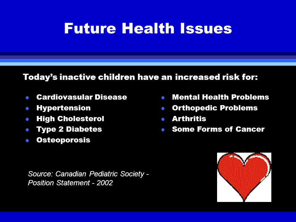 l Cardiovasular Disease l Hypertension l High Cholesterol l Type 2 Diabetes l Osteoporosis Future Health Issues Source: Canadian Pediatric Society - Position Statement - 2002 Today's inactive children have an increased risk for: l Mental Health Problems l Orthopedic Problems l Arthritis l Some Forms of Cancer