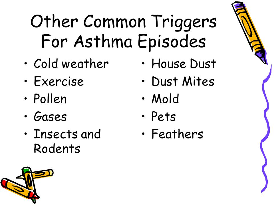 Other Common Triggers For Asthma Episodes Cold weather Exercise Pollen Gases Insects and Rodents House Dust Dust Mites Mold Pets Feathers