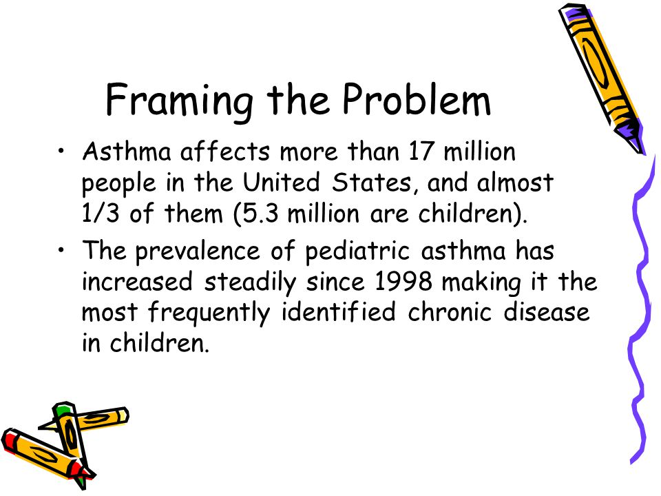 Framing the Problem Asthma affects more than 17 million people in the United States, and almost 1/3 of them (5.3 million are children).