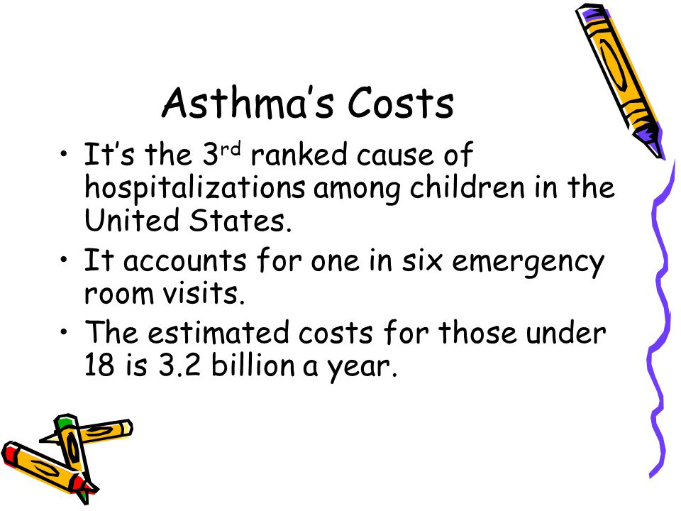 Asthma's Costs It's the 3 rd ranked cause of hospitalizations among children in the United States.