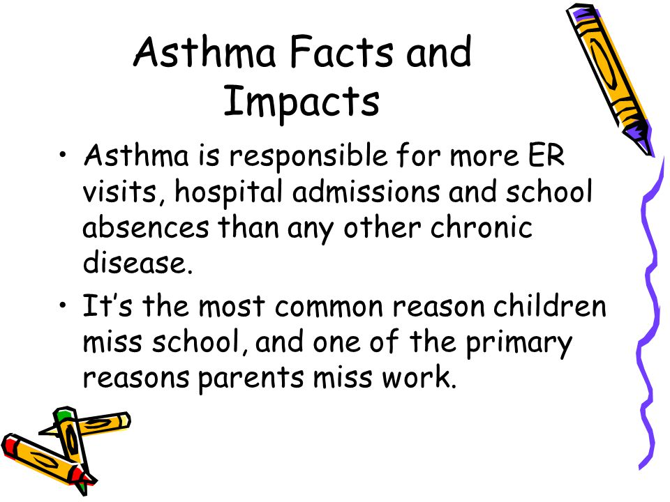 Asthma Facts and Impacts Asthma is responsible for more ER visits, hospital admissions and school absences than any other chronic disease.