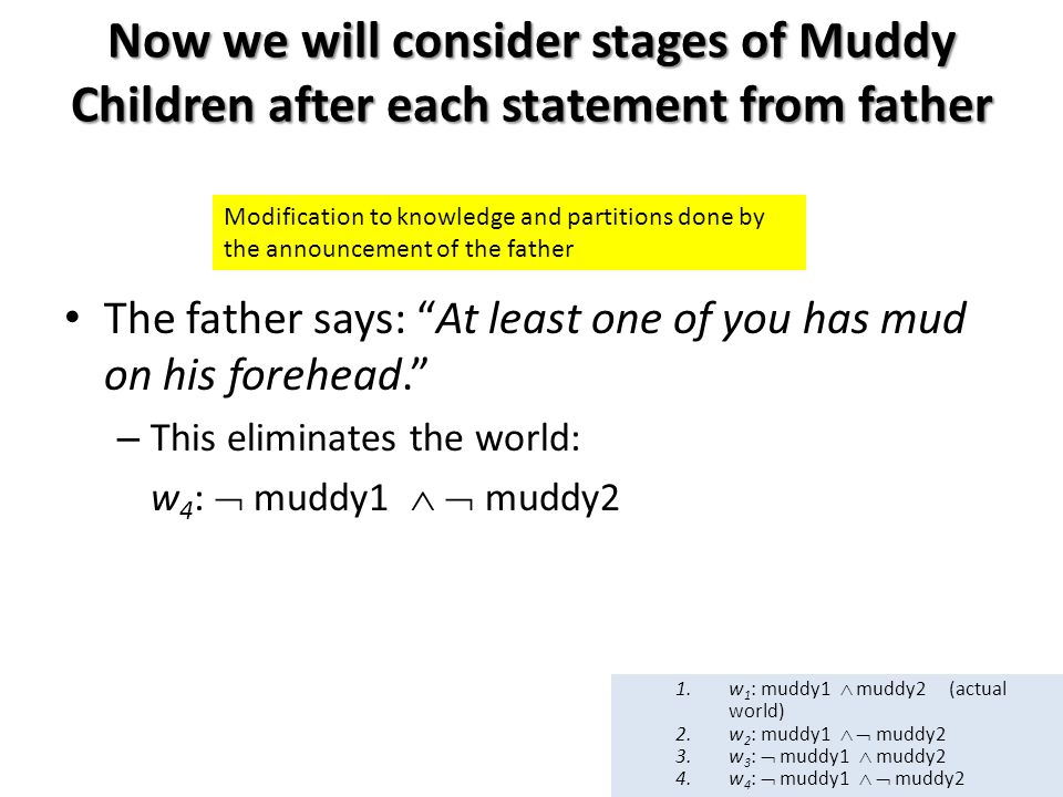 Now we will consider stages of Muddy Children after each statement from father The father says: At least one of you has mud on his forehead. – This eliminates the world: w 4 :  muddy1   muddy2 Modification to knowledge and partitions done by the announcement of the father 1.w 1 : muddy1  muddy2 (actual world) 2.w 2 : muddy1   muddy2 3.w 3 :  muddy1  muddy2 4.w 4 :  muddy1   muddy2
