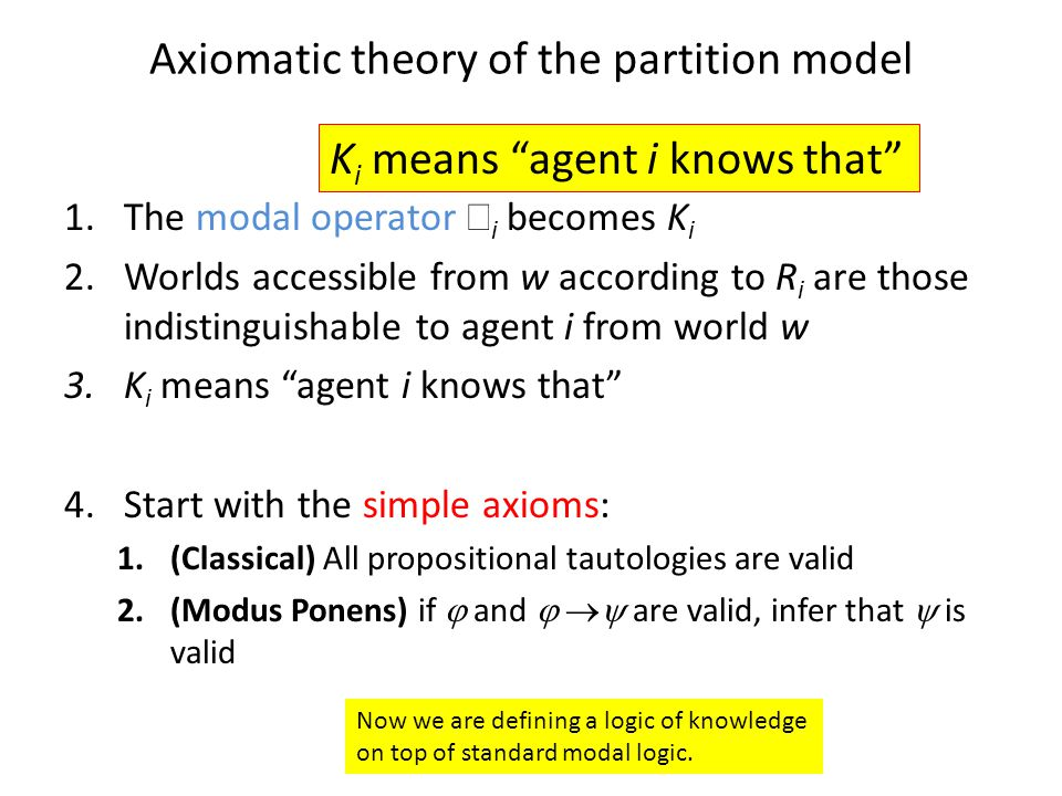 Axiomatic theory of the partition model 1.The modal operator  i becomes K i 2.Worlds accessible from w according to R i are those indistinguishable to agent i from world w 3.K i means agent i knows that 4.Start with the simple axioms: 1.(Classical) All propositional tautologies are valid 2.(Modus Ponens) if  and   are valid, infer that  is valid K i means agent i knows that Now we are defining a logic of knowledge on top of standard modal logic.