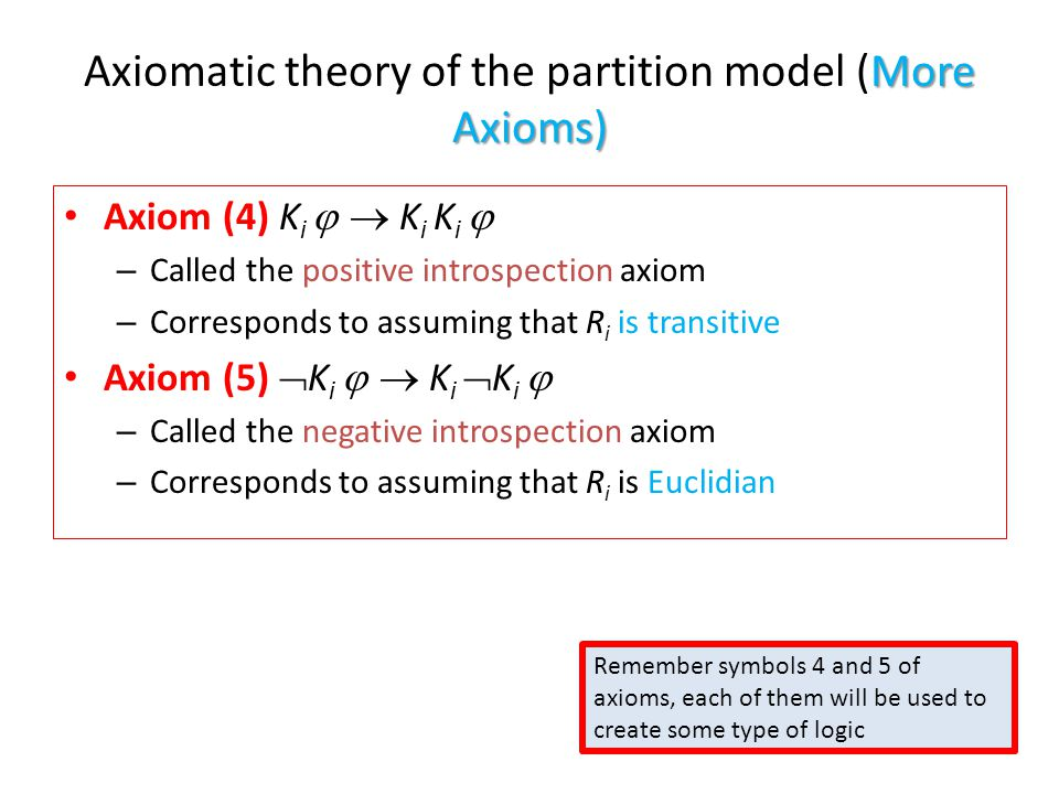 More Axioms) Axiomatic theory of the partition model (More Axioms) Axiom (4) K i   K i K i  – Called the positive introspection axiom – Corresponds to assuming that R i is transitive Axiom (5)  K i   K i  K i  – Called the negative introspection axiom – Corresponds to assuming that R i is Euclidian Remember symbols 4 and 5 of axioms, each of them will be used to create some type of logic