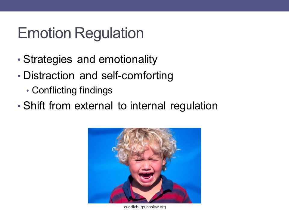 Emotion Regulation Strategies and emotionality Distraction and self-comforting Conflicting findings Shift from external to internal regulation cuddlebugs.onslow.org