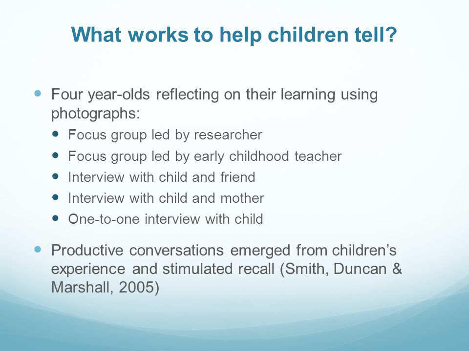 What works to help children tell.