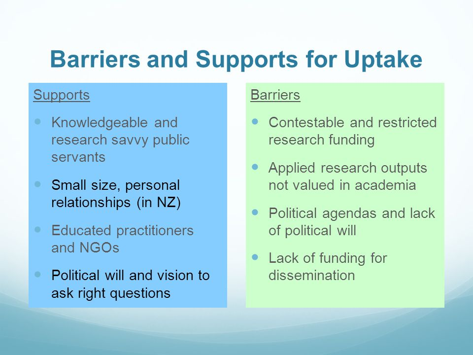 Barriers and Supports for Uptake Supports Knowledgeable and research savvy public servants Small size, personal relationships (in NZ) Educated practitioners and NGOs Political will and vision to ask right questions Barriers Contestable and restricted research funding Applied research outputs not valued in academia Political agendas and lack of political will Lack of funding for dissemination