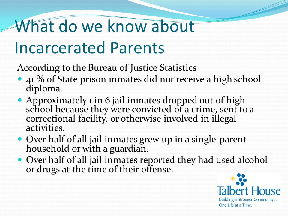What do we know about Incarcerated Parents According to the Bureau of Justice Statistics 41 % of State prison inmates did not receive a high school diploma.