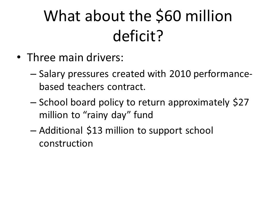 What about the $60 million deficit.