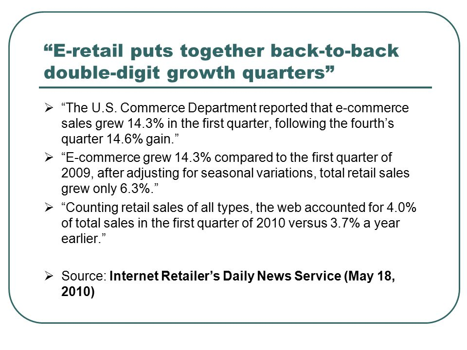 E-retail puts together back-to-back double-digit growth quarters  The U.S.