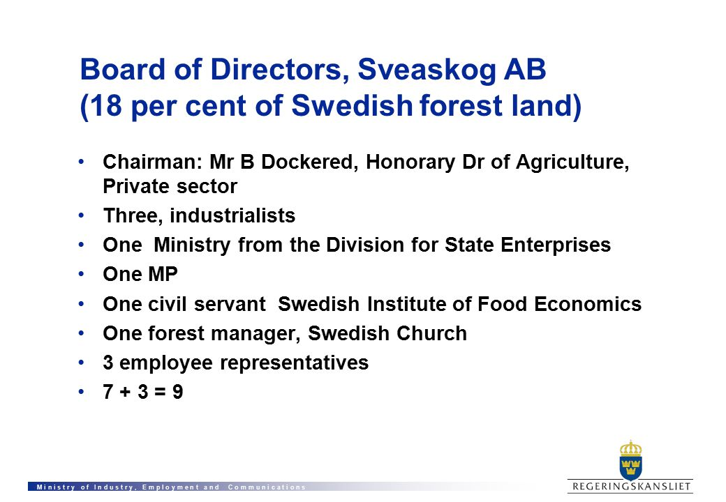 M i n i s t r y o f I n d u s t r y, E m p l o y m e n t a n d C o m m u n i c a t i o n s Board of Directors, Sveaskog AB (18 per cent of Swedish forest land) Chairman: Mr B Dockered, Honorary Dr of Agriculture, Private sector Three, industrialists One Ministry from the Division for State Enterprises One MP One civil servant Swedish Institute of Food Economics One forest manager, Swedish Church 3 employee representatives 7 + 3 = 9