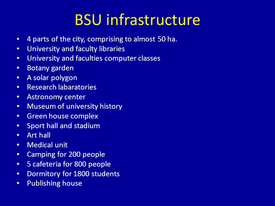 BSU infrastructure 4 parts of the city, comprising to almost 50 ha.
