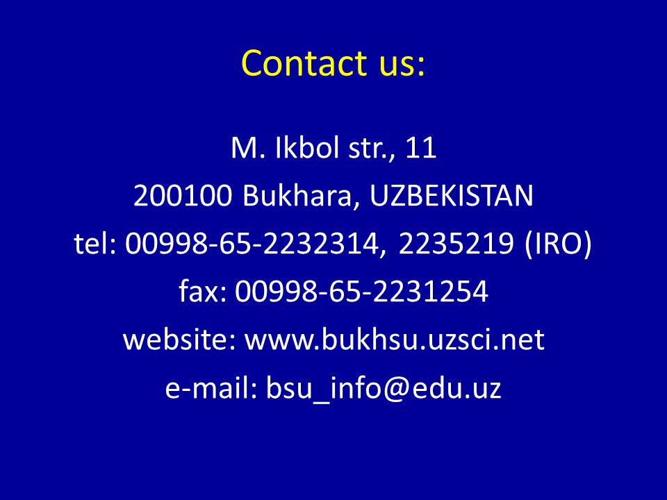 Contact us: M.