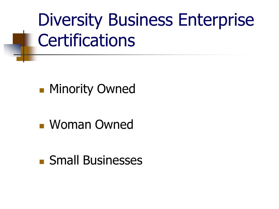 Diversity Business Enterprise Certifications Minority Owned Woman Owned Small Businesses