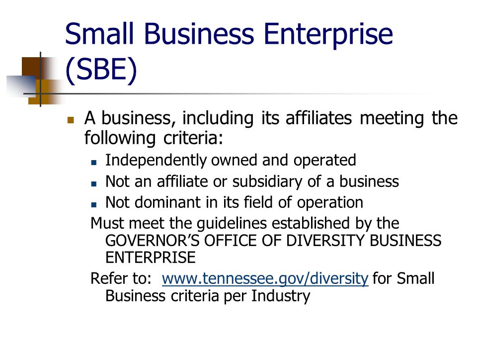 Small Business Enterprise (SBE) A business, including its affiliates meeting the following criteria: Independently owned and operated Not an affiliate or subsidiary of a business Not dominant in its field of operation Must meet the guidelines established by the GOVERNOR'S OFFICE OF DIVERSITY BUSINESS ENTERPRISE Refer to:   for Small Business criteria per Industrywww.tennessee.gov/diversity