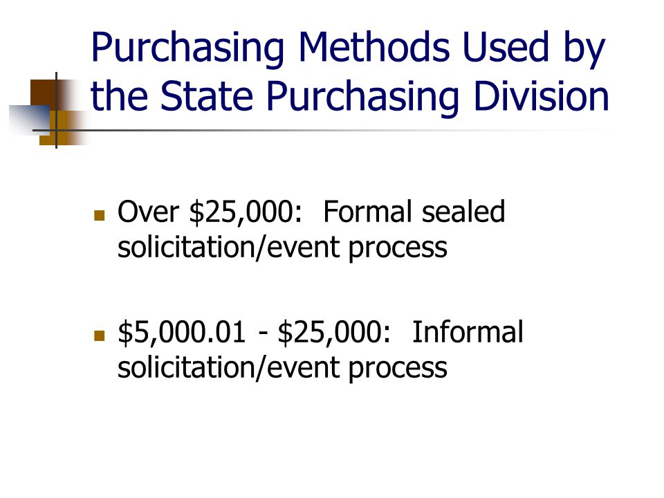 Purchasing Methods Used by the State Purchasing Division Over $25,000: Formal sealed solicitation/event process $5, $25,000: Informal solicitation/event process