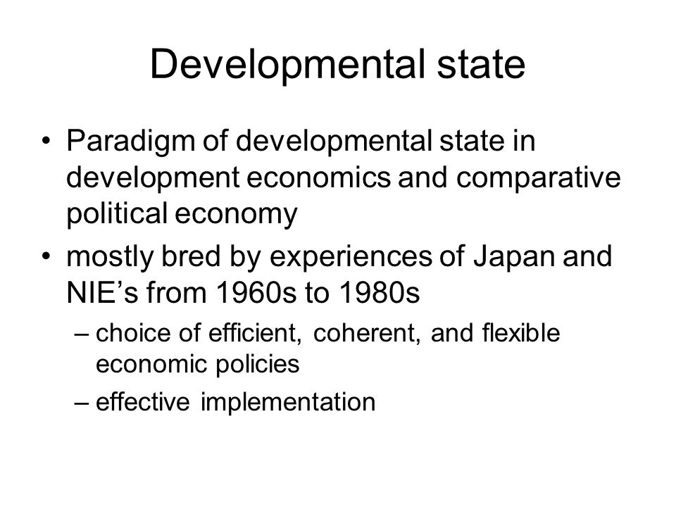 Developmental state Paradigm of developmental state in development economics and comparative political economy mostly bred by experiences of Japan and NIE's from 1960s to 1980s –choice of efficient, coherent, and flexible economic policies –effective implementation