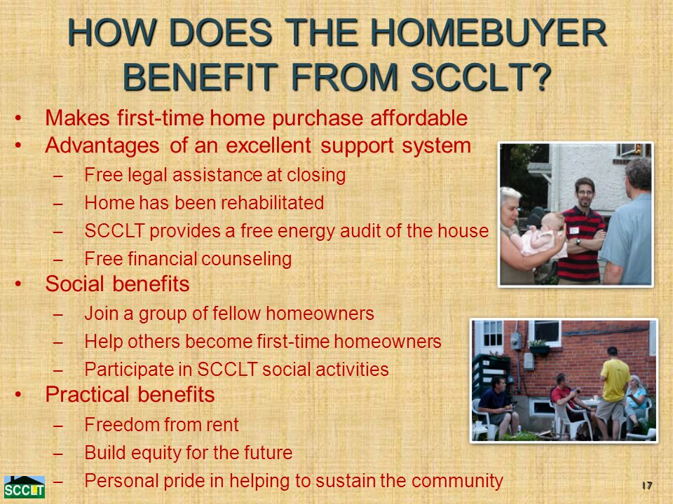 HOW DOES THE HOMEBUYER BENEFIT FROM SCCLT.