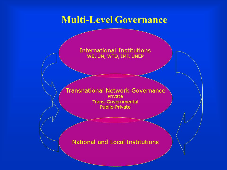 Multi-Level Governance International Institutions WB, UN, WTO, IMF, UNEP Transnational Network Governance Private Trans-Governmental Public-Private National and Local Institutions