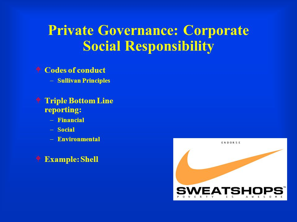 Private Governance: Corporate Social Responsibility  Codes of conduct –Sullivan Principles  Triple Bottom Line reporting: –Financial –Social –Environmental  Example: Shell