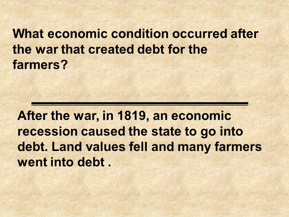 What economic condition occurred after the war that created debt for the farmers.