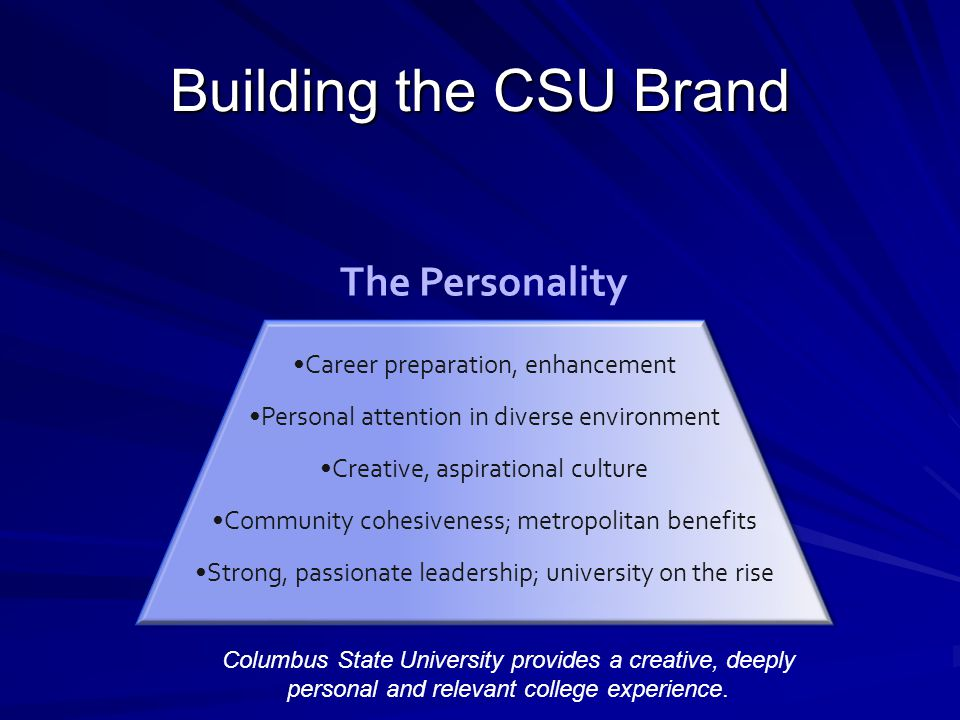 Building the CSU Brand Career preparation, enhancement Personal attention in diverse environment Creative, aspirational culture Community cohesiveness; metropolitan benefits Strong, passionate leadership; university on the rise The Personality Columbus State University provides a creative, deeply personal and relevant college experience.
