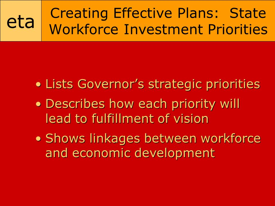 eta Creating Effective Plans: State Workforce Investment Priorities Lists Governor's strategic prioritiesLists Governor's strategic priorities Describes how each priority will lead to fulfillment of visionDescribes how each priority will lead to fulfillment of vision Shows linkages between workforce and economic developmentShows linkages between workforce and economic development