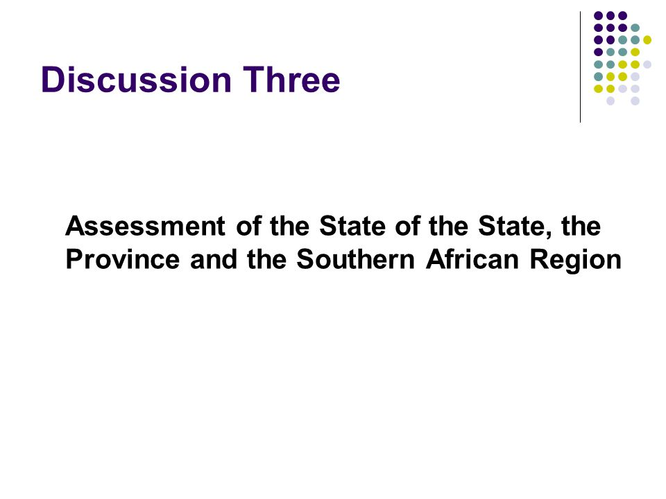 Discussion Three Assessment of the State of the State, the Province and the Southern African Region
