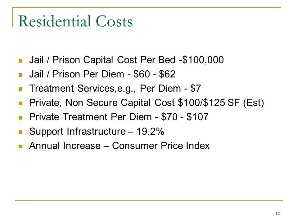 10 Residential Costs Jail / Prison Capital Cost Per Bed -$100,000 Jail / Prison Per Diem - $60 - $62 Treatment Services,e.g., Per Diem - $7 Private, Non Secure Capital Cost $100/$125 SF (Est) Private Treatment Per Diem - $70 - $107 Support Infrastructure – 19.2% Annual Increase – Consumer Price Index