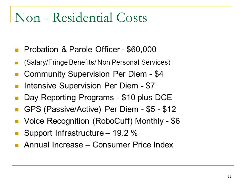 11 Non - Residential Costs Probation & Parole Officer - $60,000 (Salary/Fringe Benefits/ Non Personal Services) Community Supervision Per Diem - $4 Intensive Supervision Per Diem - $7 Day Reporting Programs - $10 plus DCE GPS (Passive/Active) Per Diem - $5 - $12 Voice Recognition (RoboCuff) Monthly - $6 Support Infrastructure – 19.2 % Annual Increase – Consumer Price Index