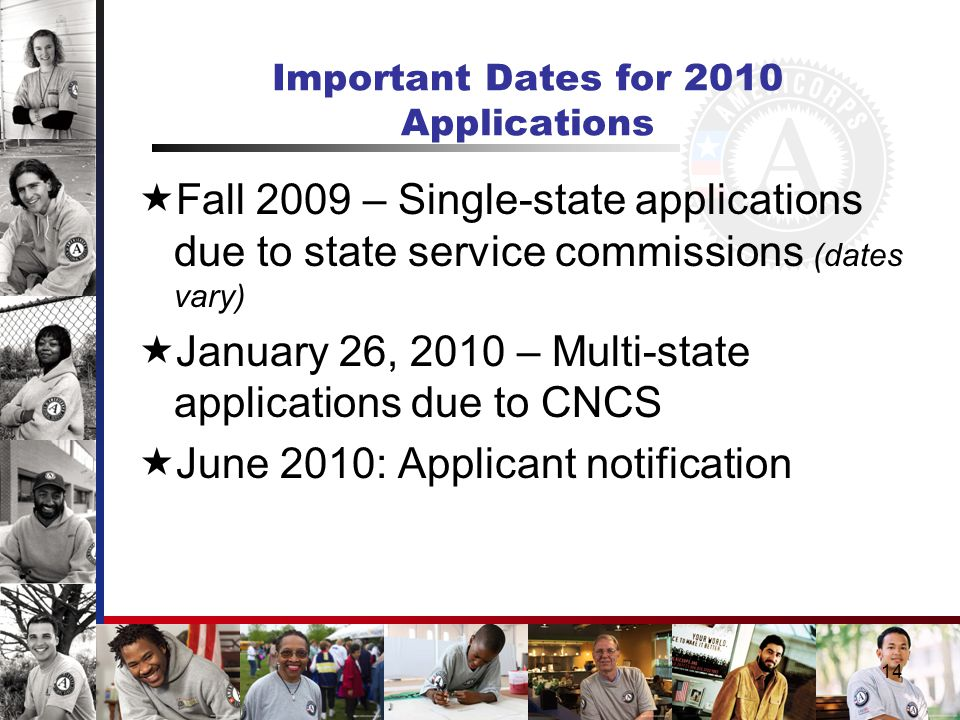 14 Important Dates for 2010 Applications  Fall 2009 – Single-state applications due to state service commissions (dates vary)  January 26, 2010 – Multi-state applications due to CNCS  June 2010: Applicant notification