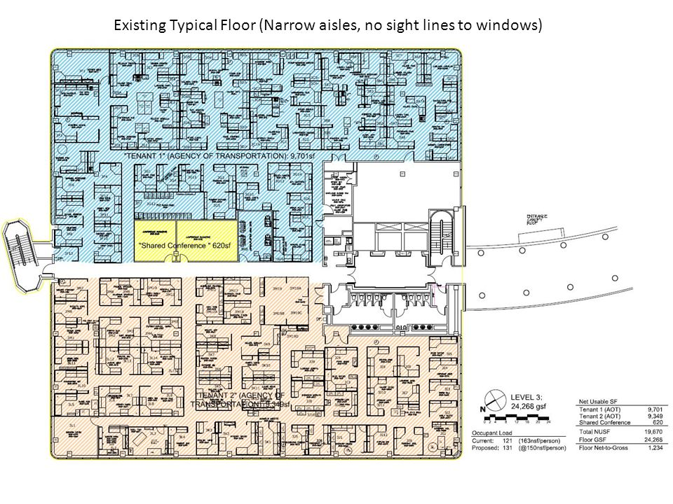 Existing Typical Floor (Narrow aisles, no sight lines to windows)