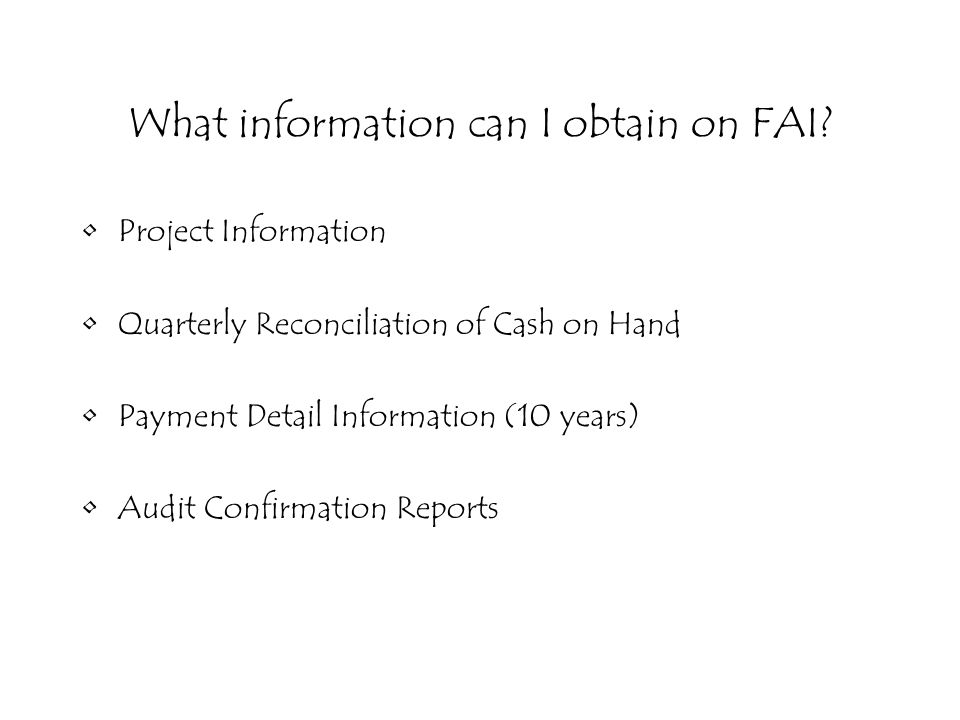 What information can I obtain on FAI.