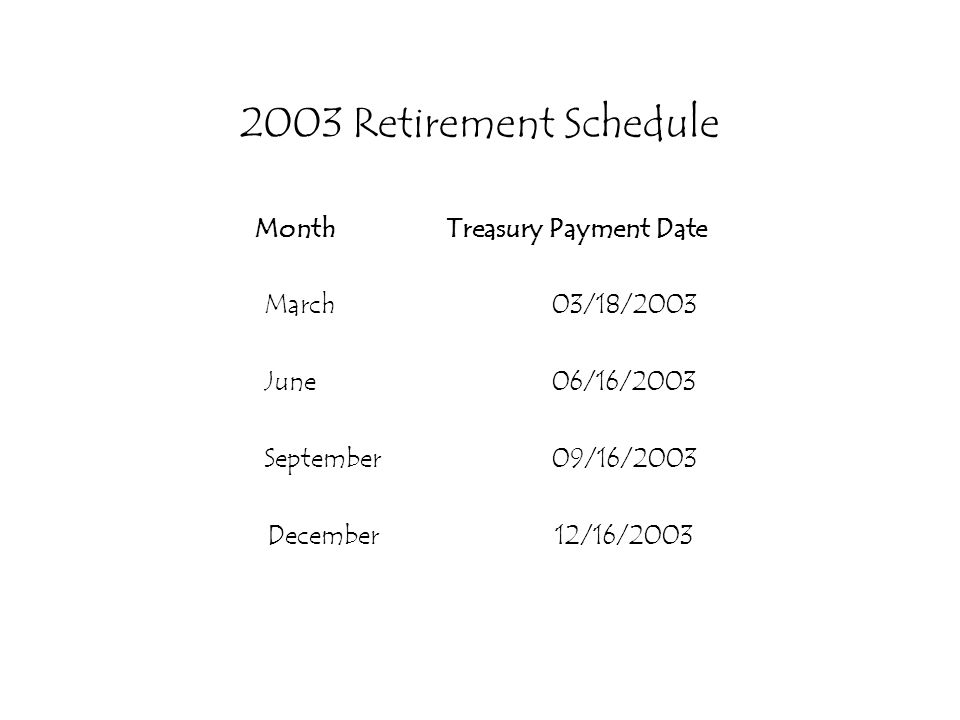 2003 Retirement Schedule MonthTreasury Payment Date March03/18/2003 June06/16/2003 September09/16/2003 December12/16/2003