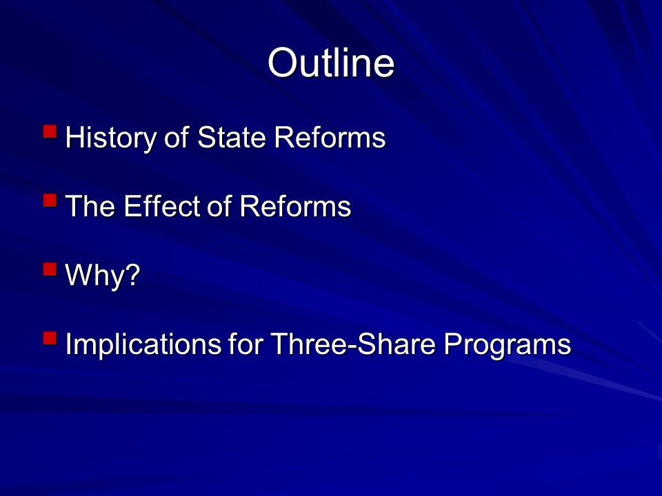 Outline  History of State Reforms  The Effect of Reforms  Why.