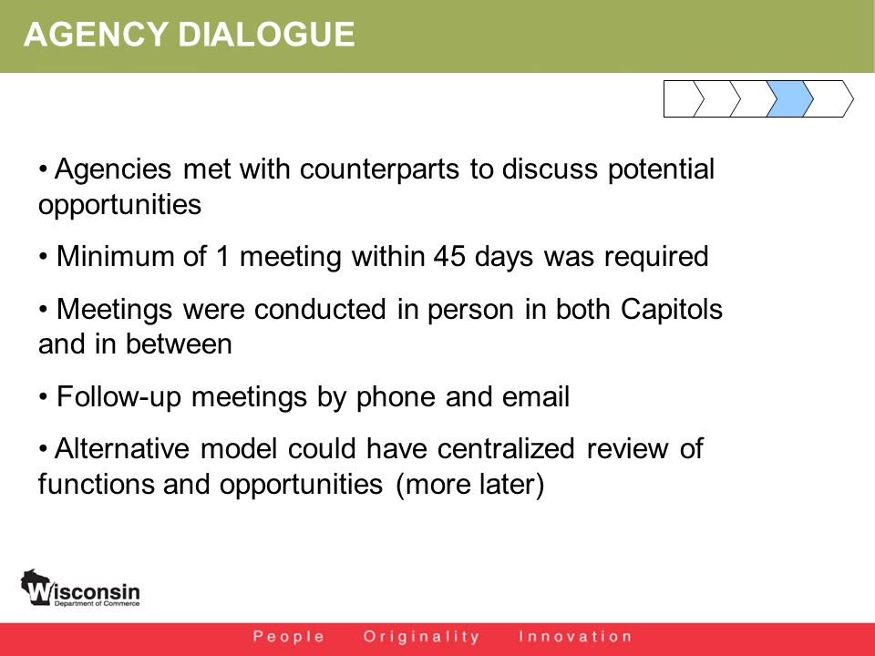 AGENCY DIALOGUE Agencies met with counterparts to discuss potential opportunities Minimum of 1 meeting within 45 days was required Meetings were conducted in person in both Capitols and in between Follow-up meetings by phone and email Alternative model could have centralized review of functions and opportunities (more later)