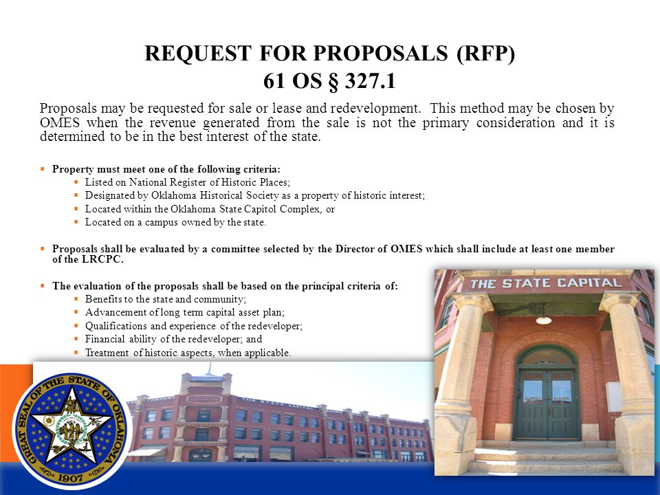 REQUEST FOR PROPOSALS (RFP) 61 OS § 327.1 Proposals may be requested for sale or lease and redevelopment.