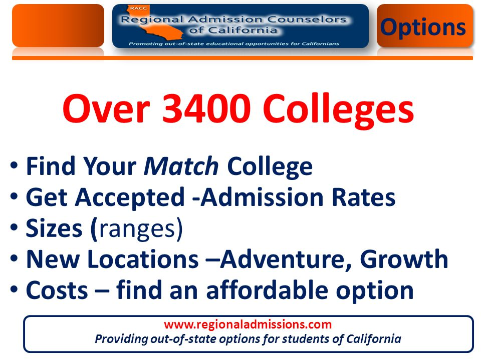 Over 3400 Colleges Find Your Match College Get Accepted -Admission Rates Sizes (ranges) New Locations –Adventure, Growth Costs – find an affordable option Options www.regionaladmissions.com Providing out-of-state options for students of California