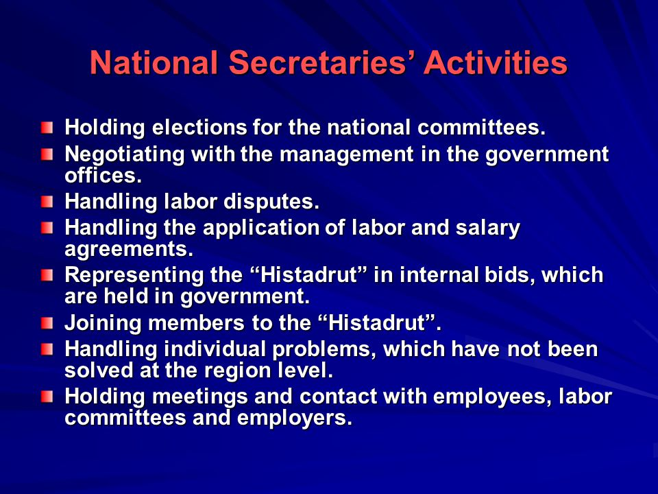 National Secretaries' Activities Holding elections for the national committees.