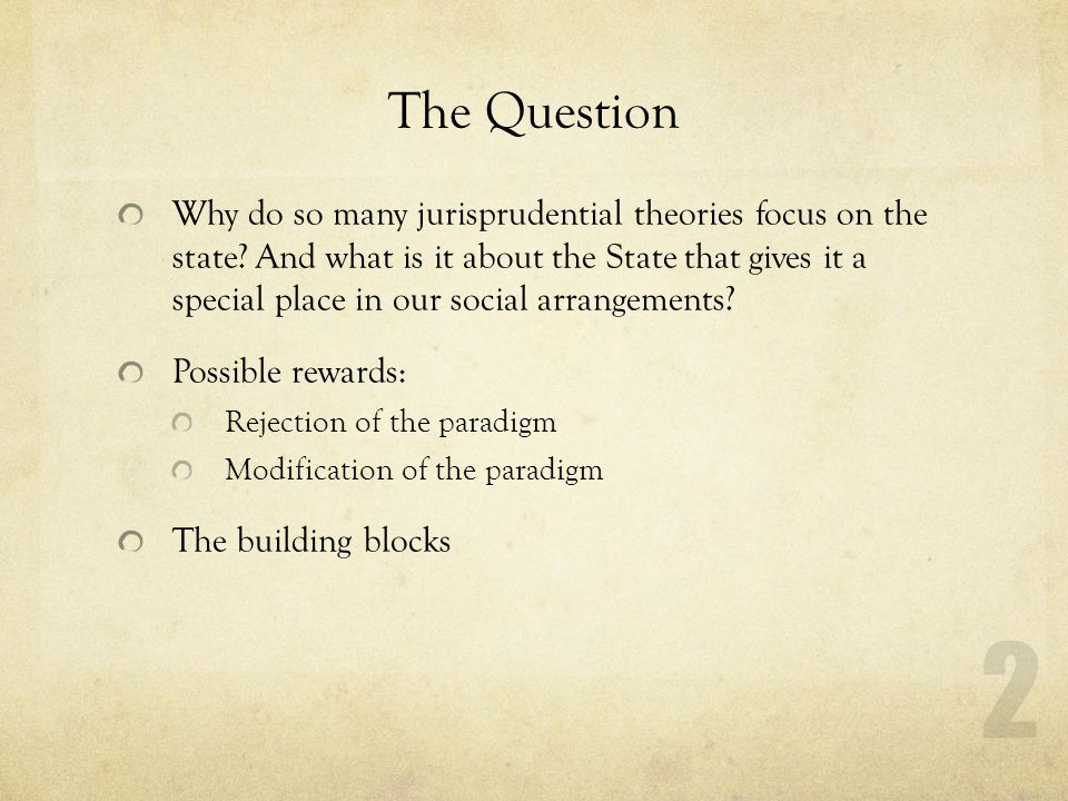 The Question Why do so many jurisprudential theories focus on the state.