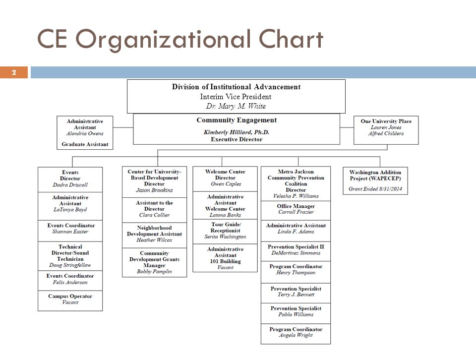 CE Organizational Chart 2 Division of Institutional Advancement Interim Vice President Dr.