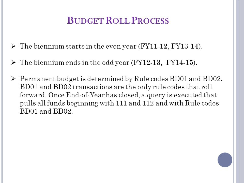 B UDGET R OLL P ROCESS  The biennium starts in the even year (FY11- 12, FY13- 14 ).